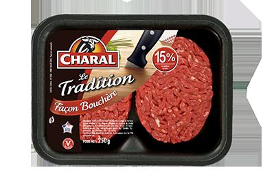 Steak haché pur bœuf Tradition façon bouchère à griller 15% MG - charal.fr