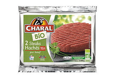 Steak haché 100% pur bœuf BIO à griller 15% MG - charal.fr