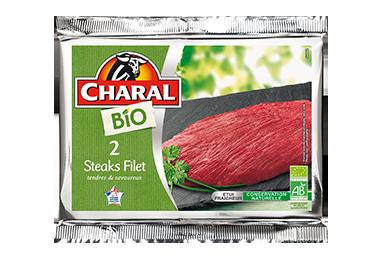 Steak de bœuf dans le filet BIO à griller : Temps de cuisson, Infos Nutrition - charal.fr