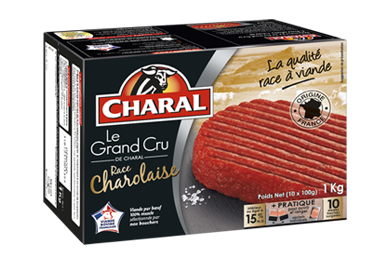 Steak haché Charolais Grand Cru pur bœuf surgelé 15% MG à griller - charal.fr