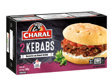 Kebab au bœuf grillé, surgelé, cuisson au four - charal.fr