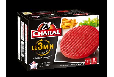Steak haché 100% pur bœuf Le 3 Min, surgelé, cuisson à la poêle - charal.fr