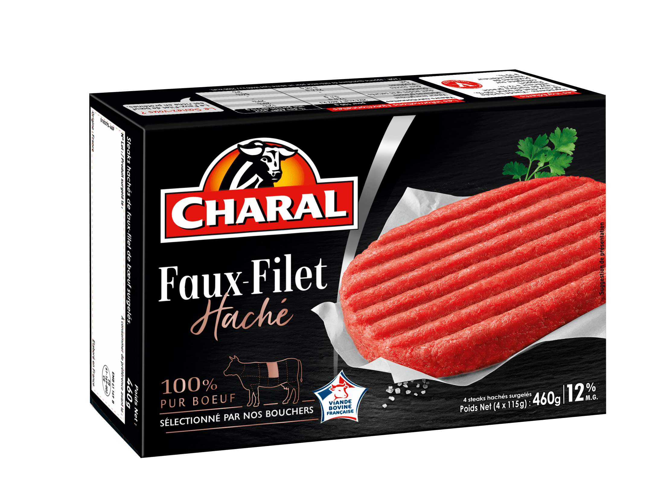 Steak haché de Faux-Filet de bœuf surgelé 12% MG à poêler - charal.fr