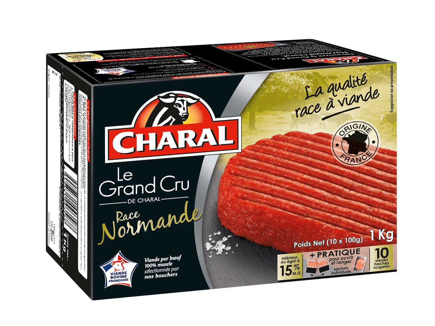 Steak haché Normand Grand Cru pur bœuf surgelé 15% MG à griller - charal.fr