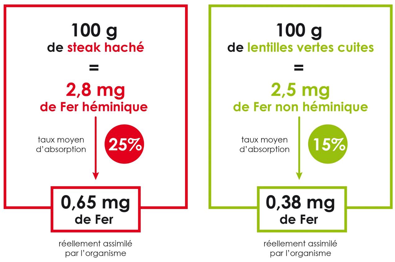 aliment riche en fer: viande rouge vs lentille